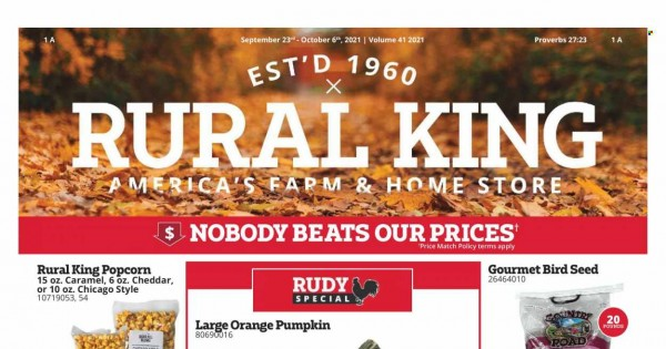 Rural King Ad from september 23 to october 6 2021