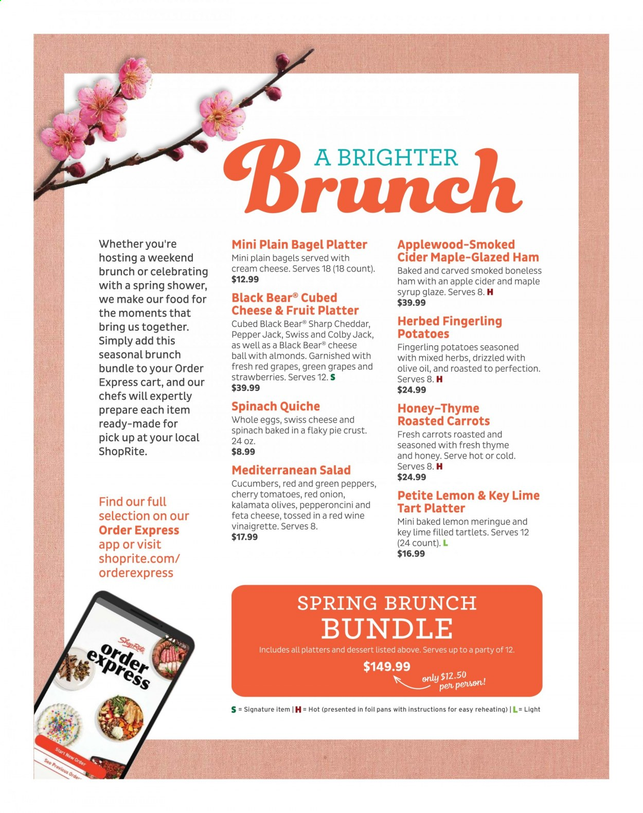 ShopRite Brunch Menu from march 28 to may 22 2021