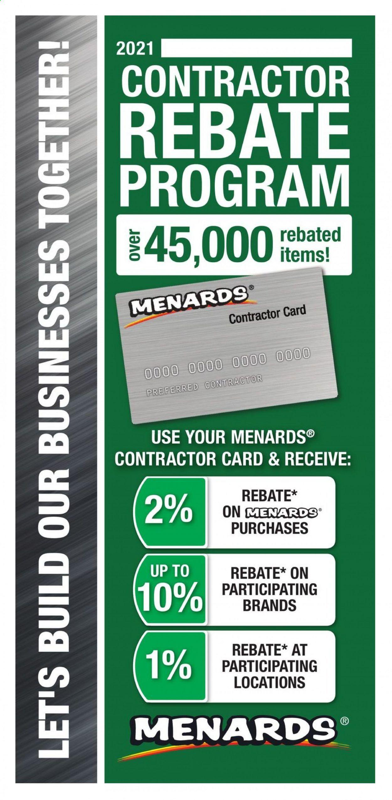 Menards Contractor Rebate Program 2021 - Page 1