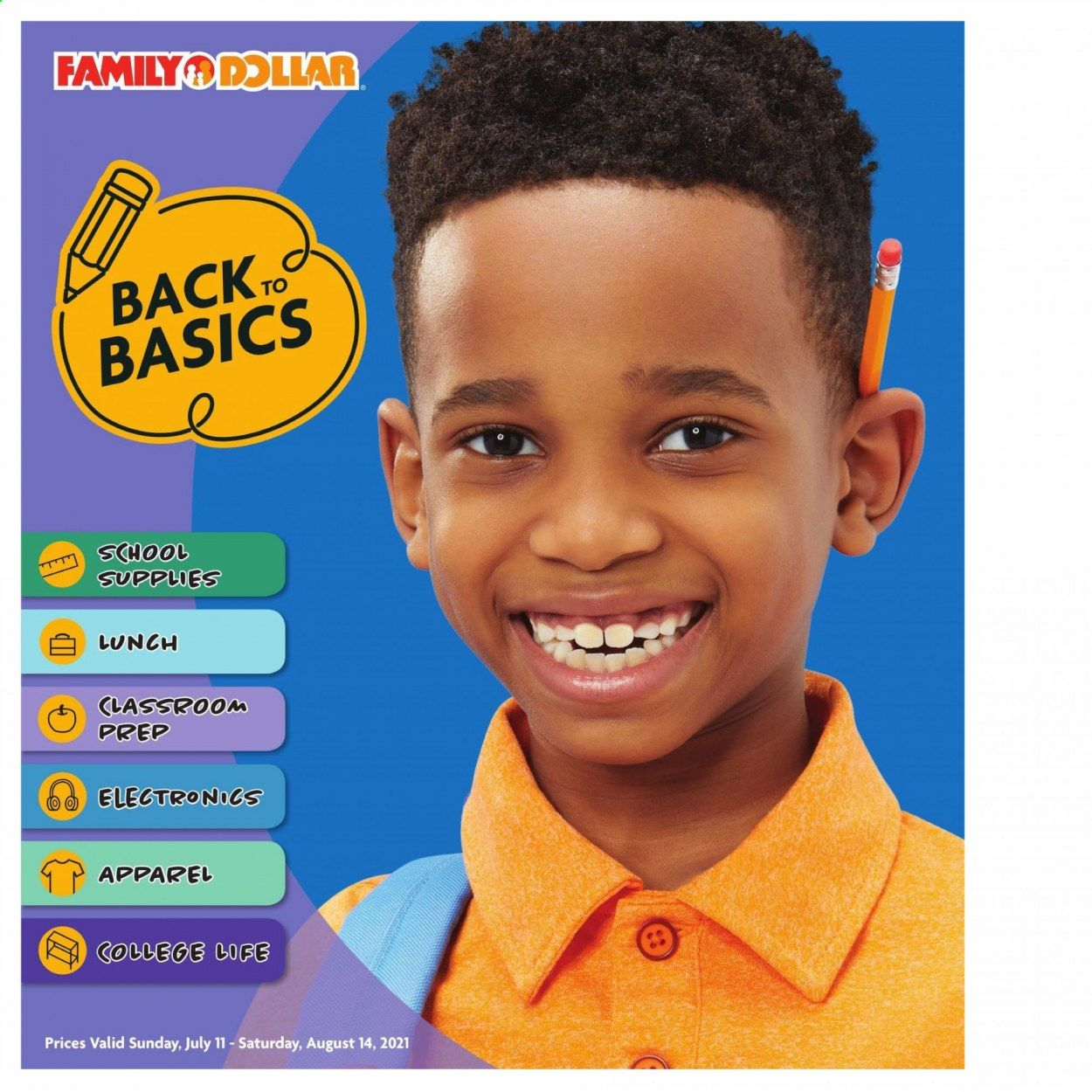 Family Dollar Back to School Ad from july 11 to august 14 2021 - Page 1
