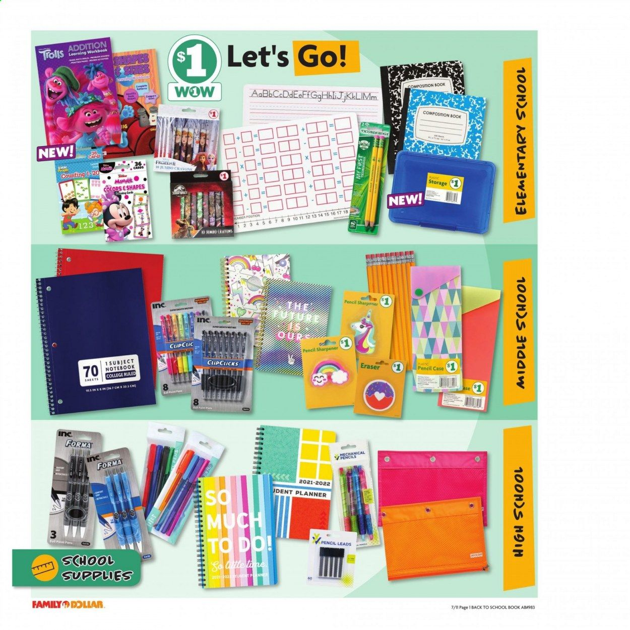 Family Dollar Back to School Ad from july 11 to august 14 2021 - Page 2