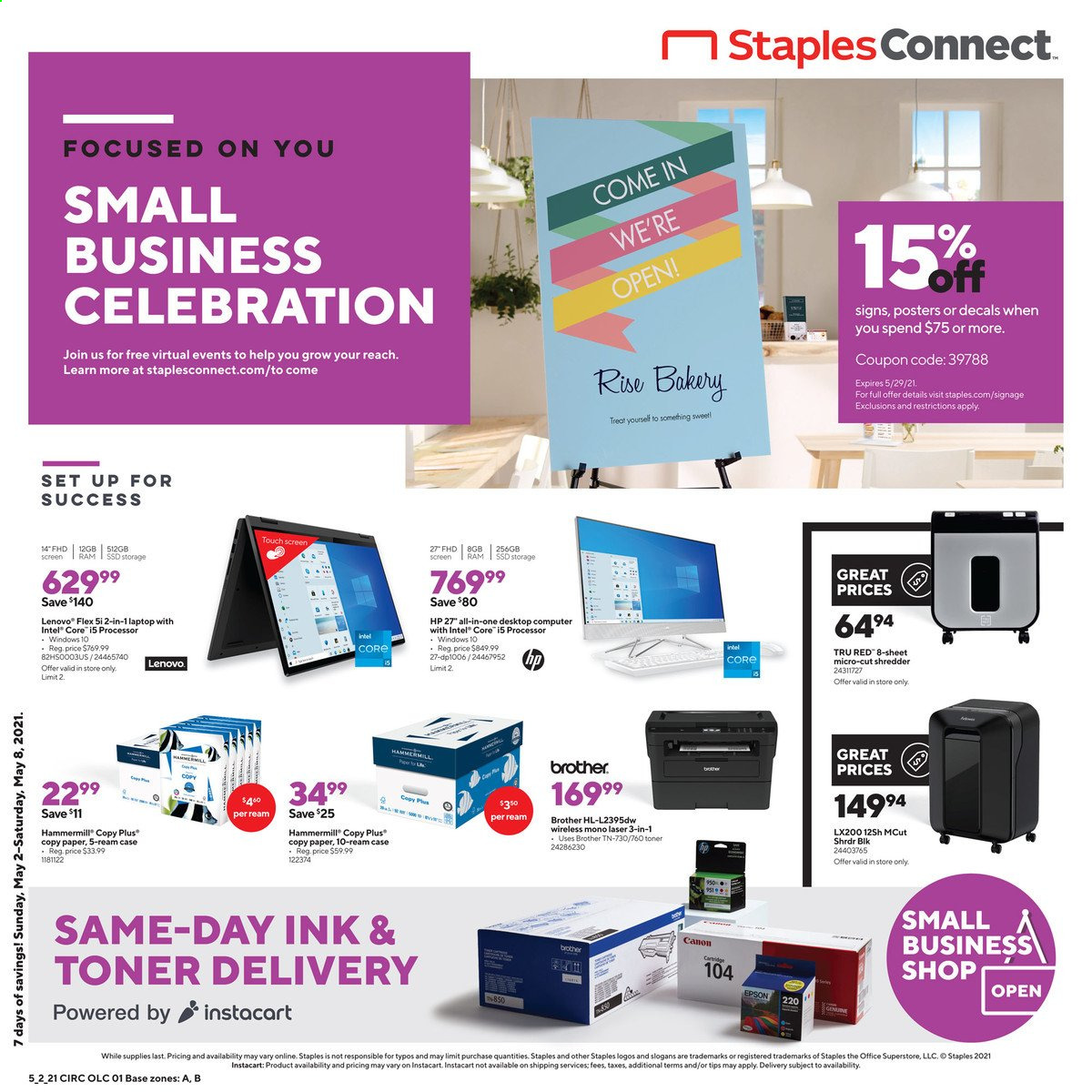 Staples Ad from may 2 to 8 2021