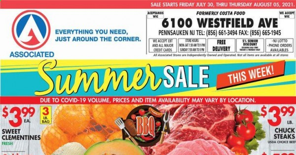 Associated Supermarkets Ad from july 30 to august 5 2021