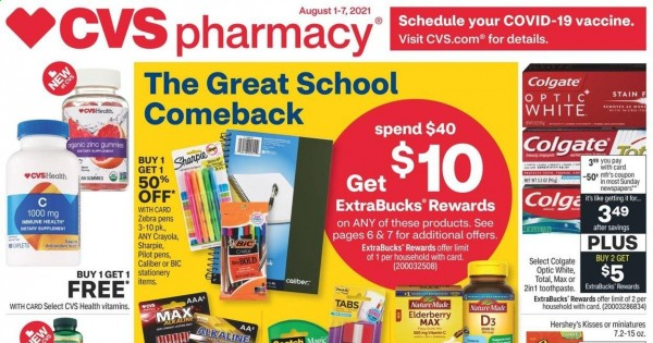 CVS Pharmacy Ad from august 1 to 7 2021