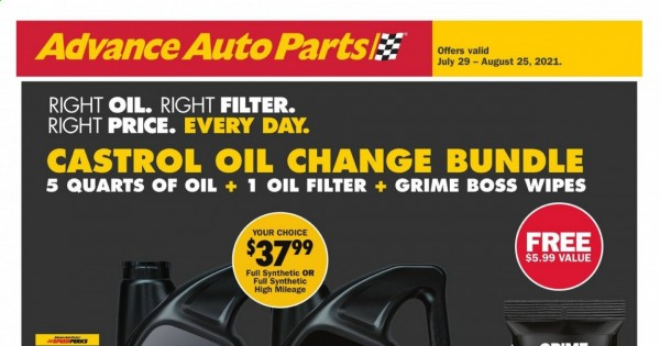 Advance Auto Parts Ad from july 29 to august 25 2021