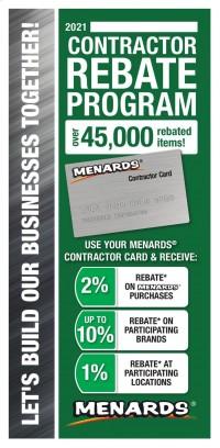 Menards Contractor Rebate Program 2021