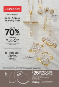 JCPenney Jewelry Ad from july 22 to august 15 2021